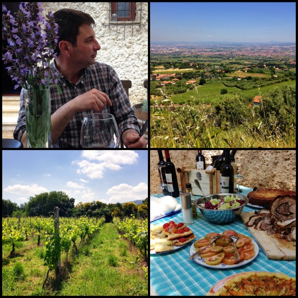 Clockwise, from top left: Lorenzo Costantini, Frascati in the foreground and Rome in the background, a beautiful lunch at Lorenzo's house in Monte Porzio Catone, Malvasia di Lazio vines growing in Frascati.