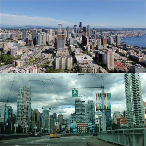 Downtown Seattle (top) as seen from the Space Needle, and Vancouver (bottom).