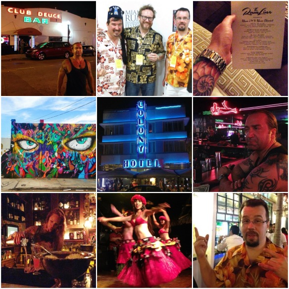 CLOCKWISE FROM TOP LEFT: Arthur in front of Mac's Deuce Club, Don Rudawski - myself and Chris, The Rum Line menu, inside the Deuce, Chris at La Sandwicherie, Polynesian show at Mai Kai, the bartender at the Broken Shaker, street art in Wynwood. CENTER: Ocean Drive