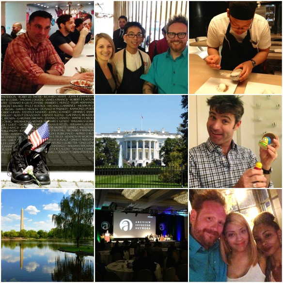 CLOCKWISE FROM TOP LEFT: Mark Passerini has a mezcal cocktail at Oyamel, Jessica - Simon - and myself at China Chilcano, at minibar, Chris holds up our Simpsons nesting dolls, myself - Whitney's friend - Whitney, the ArvView conference, view from the Constitution Gardens, Vietnam Veterans Memorial. CENTER: White House